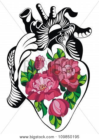 Heart tattoo with roses