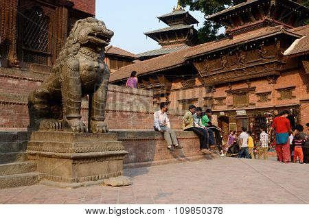 people resting at Durbar Square in Kathmandu,Nepal,popular tourist attractions before earthquake