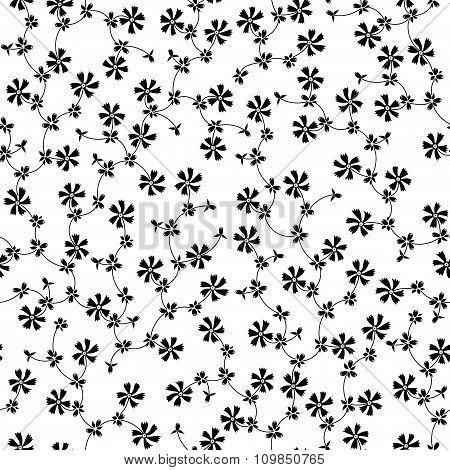 Ornate Seamless Pattern With Small Black Flowers On White Background.