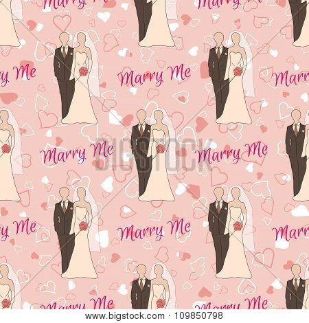 Wedding seamless pattern with bride and groom silhouettes