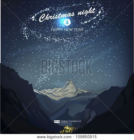 Star night vector illustration. Christmas night