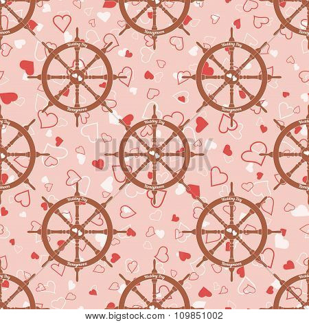 Wedding seamless pattern with steering wheel with hearts
