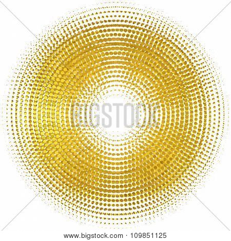 Gold Lights Abstract Banner Halftone Circle. Vector Illustration