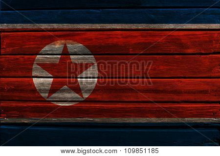 Flag of North Korea on wood