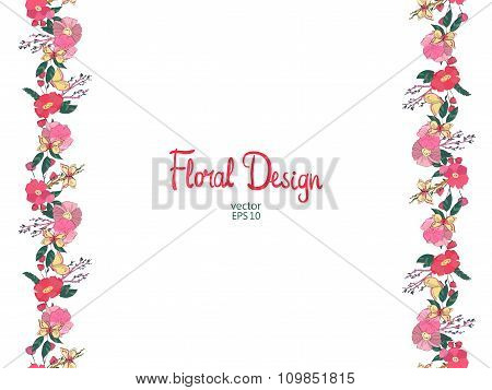 Floral border with flowers berries and butterfly
