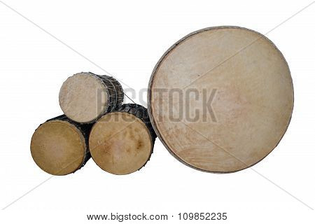 Puja Drum (lanna) set isolate on white background