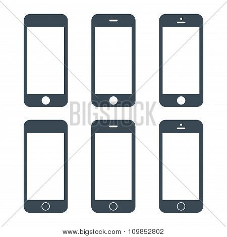 Smartphone Icons Set Gray Color On The White Background. Stock Vector Illustration Eps10