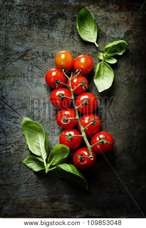 Fresh grape tomatoes with basil on rustic background