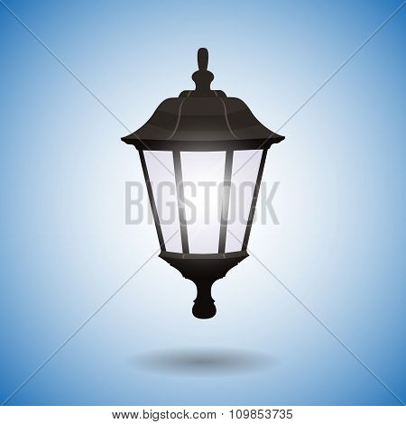 Lamppost Isolated On Blue Background