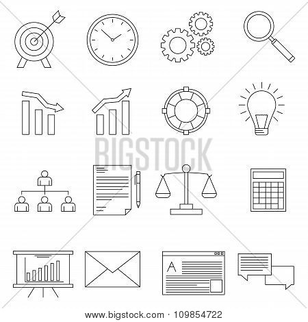 Set of business icons in line style