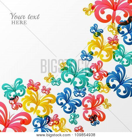 Vector Background With Multicolor Butterflies.