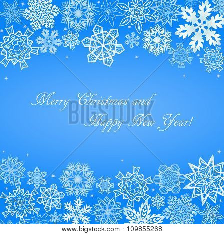 Christmas light blue background with snowflakes at top and bottom sides