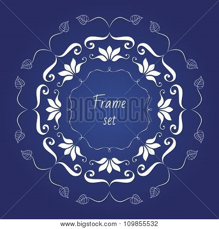 Set Of Vector Borders. Can Be Used For Monograms, Greeting Cards, Wedding Invitations