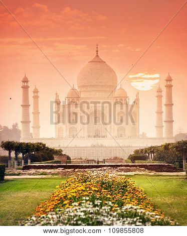 Taj Mahal At Beautiful Sunset In India