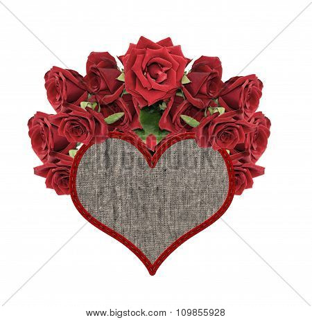 Textile Heart With Roses