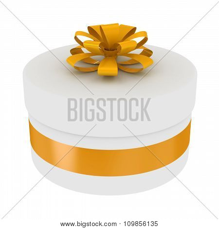 Round gift box with golden bow.