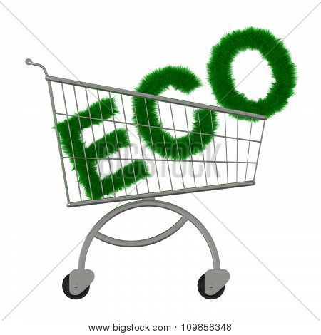 Inscription ECO in the supermarket cart.