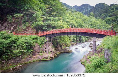 Long exposure of Shinkyo Bridge in Nikko, Japan