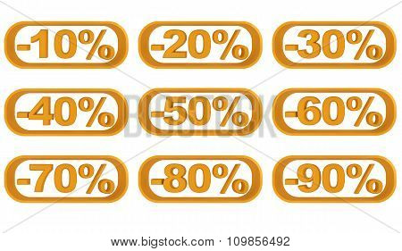 Set of images discounts from ten to ninety percent