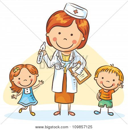 Cartoon Doctor With Happy Little Children, A Boy And A Girl