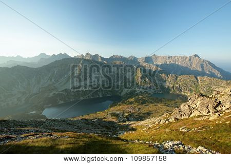 High mountains around the valley in the Tatras