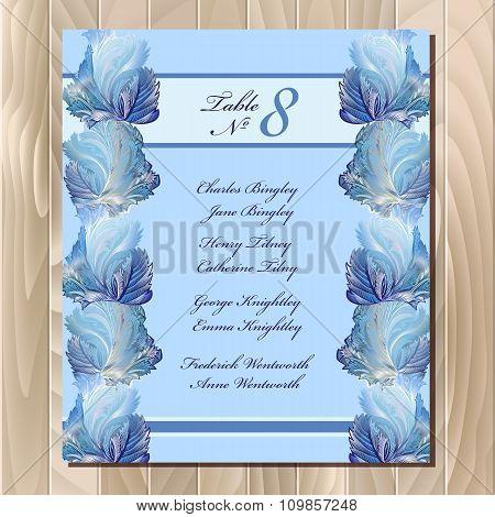 Table guest list. Winter frozen glass design. Wedding design template.
