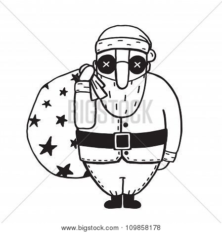 Santa Claus in Glasses Outline Flat Cartoon Illustration