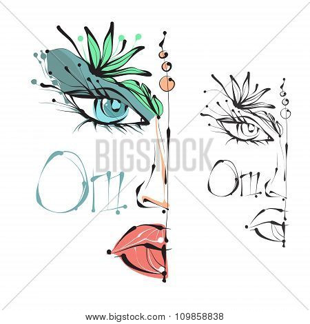 The woman's face, eyes, lips. Elegant vector illustration in the style of boho. Ideal for fashion de