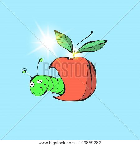 The worm and the Apple. Vector funny illustration