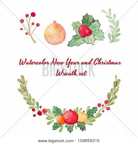 Hand Drawn Watercolor Raster Christmas Wreath Set Isolated On White.  Perfect For Invitations, Greet