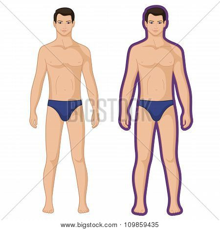 Fashion Man Couple Outlined Template Figure