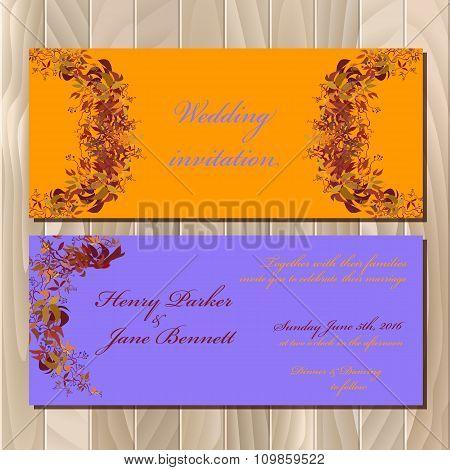 Autumn orange wild grape wedding invitation card. Printable vector illustration