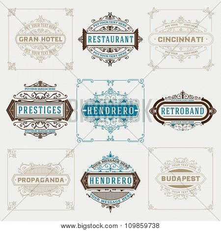 Set of vintage designs, logos and banners.