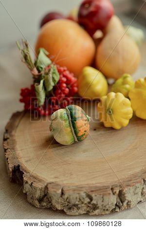 Decorative pumpkins and viburnum