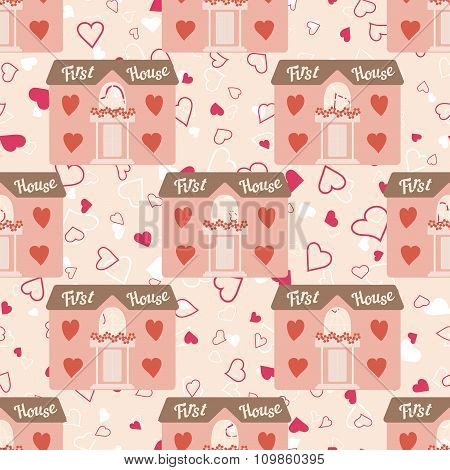Wedding seamless pattern with house for newlyweds