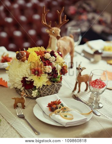 Table Setting With A Bouquet Of Autumn