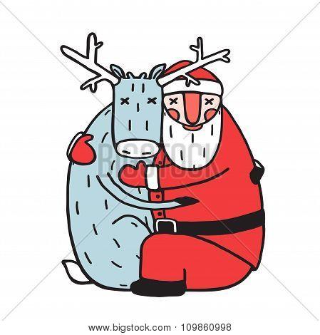 Character Santa Claus Hug with Deer