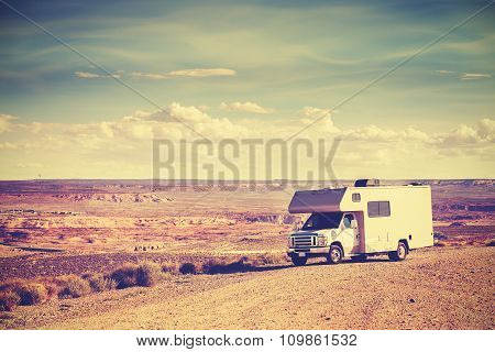 Retro Toned Camper Parked By Canyon, Vacation Concept.