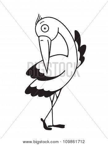 Stork Flat Outline Design Character Drawing