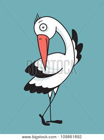 Bird Stork Flat Design Character