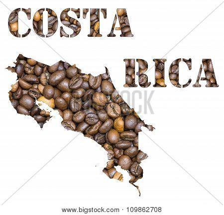 Costa Rica Word And Country Map Shaped With Coffee Beans Background