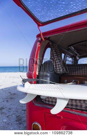 Surf Board In A Van