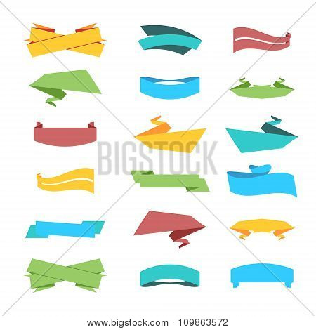 Multicolor Set of Ribbons and Labels in Vector.