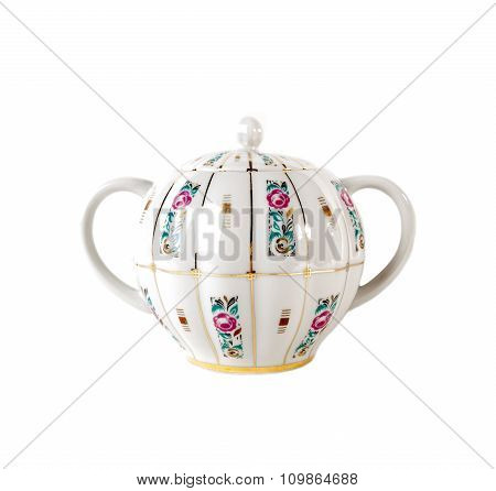 Porcelain sugar bowl with ornament of roses  in retro style isolated on white