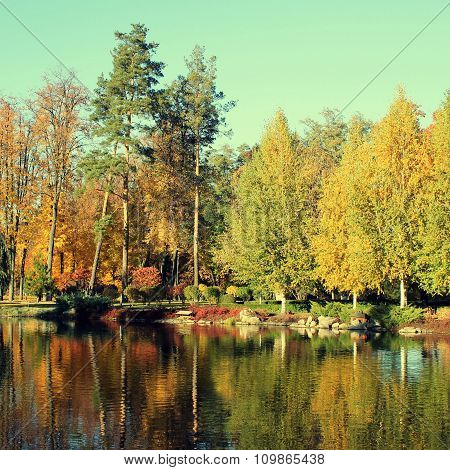 Colorful Autumn Trees Reflected At The Pond