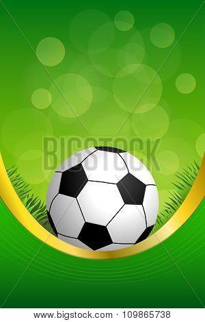 Background abstract green football soccer sport ball frame vertical gold ribbon illustration vector