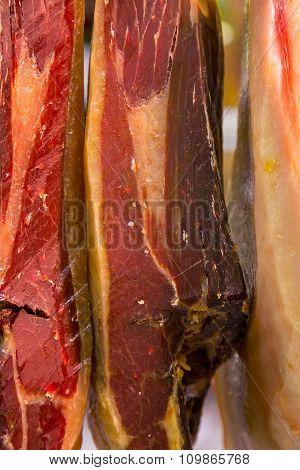 Catalan Dry Sausages Called Fuet At Mercat De Sant Josep De La Boqueria Market In Barcelona