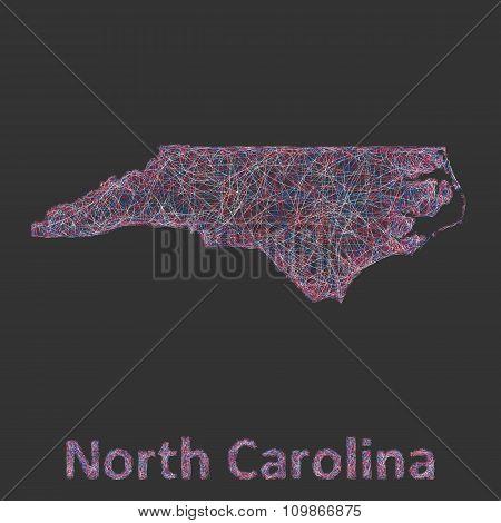 North Carolina line art map