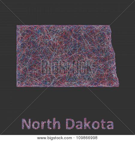 North Dakota line art map