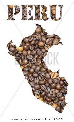 Peru Word And Country Map Shaped With Coffee Beans Background